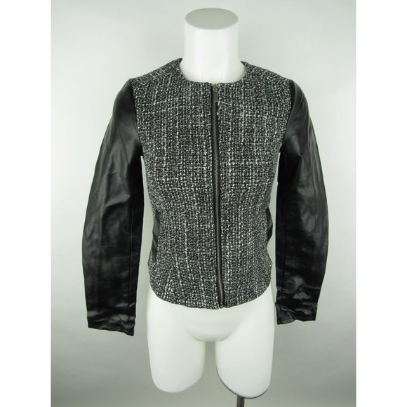Divided H&M Faux Leather Sleeves Blazer Jacket